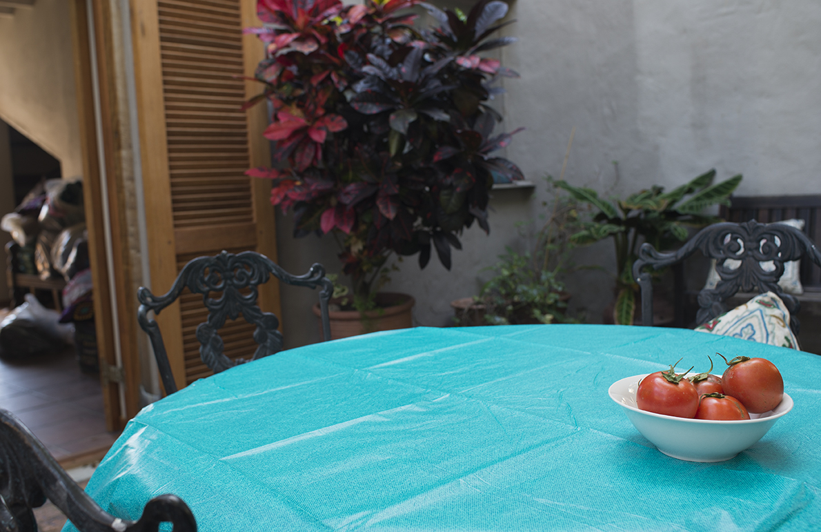 a turquoise table cloth and a red tomato