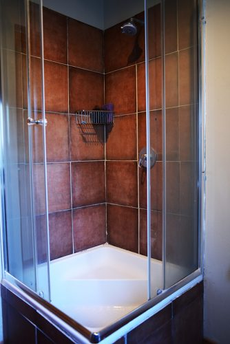 The shower has a sit-in base nearly the depth of a standard bath.