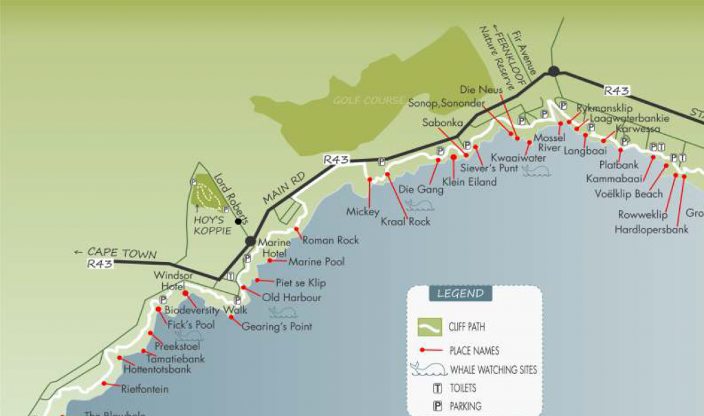 A map of sites along the cliff path